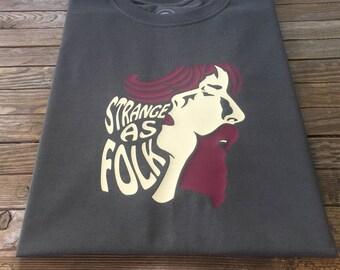Strange As Folk T Shirt featuring merged silhouettes of Robin Williamson and Sandy Denny British Acid Folk Rock
