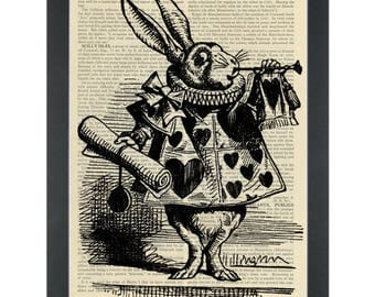 Alice in wonderland white rabbit reverse Dictionary Art Print