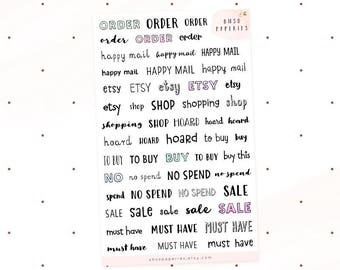 The Shopaholic - Word Stickers