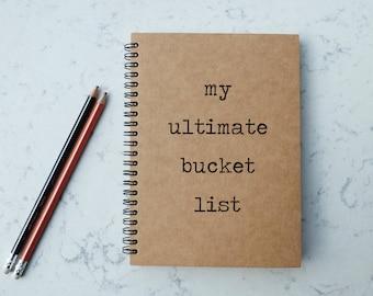 My Ultimate Bucket List - A5 Spiral Notebook/Sketchbook/Kraft Journal/Personalized Journal - Blank/Lined paper - 058