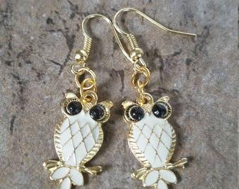 Owl Gold Tone Drop Earrings