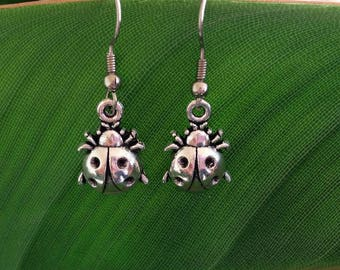 Silver Bug Beetle Earrings