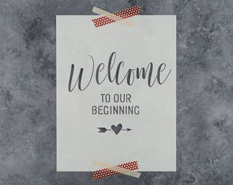 Welcome to our Beginning Stencil - Reusable Wedding Stencil for Crafts and DIY Projects - Better than Wedding Decals and Stickers!