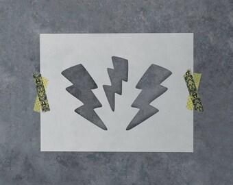 Lightning Bolts Stencil - Reusable DIY Craft Stencils of a Lightning Bolt