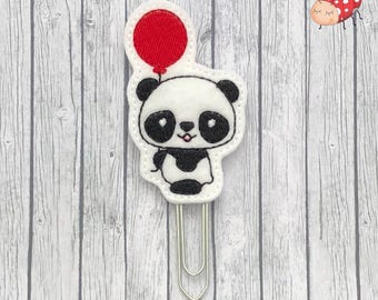Panda planner clip, paperclip, office supplies, planner accessory, organiser accessories, embroidered, study, felt, paperwork,