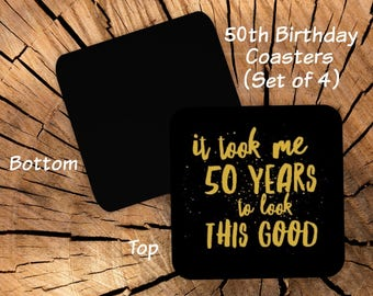 50th Birthday Coasters Set of 4 - Coaster Set for 50th Birthday Party Favors - Funny 50th Gag Gift for Friend Coworker Men Women Him Her