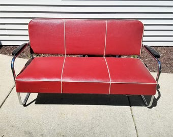 Vintage Mid Century Modern Red Sofa manufactured by Lloyd of Menominee, Mich.