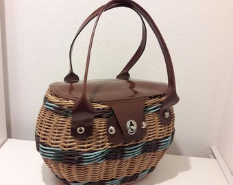 Vintage  Woven Bag, Blue and Brown Woven Market Bag, Woven Basket with Lid, Vintage Accessory, Soviet, USSR, 1970's