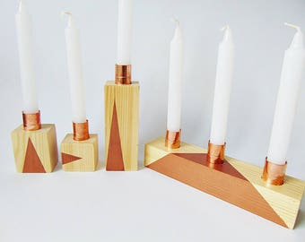 candle holders, ste of 5, wooden candle holders