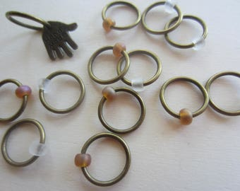 12 Large Ring Stitch Markers with Bead / Charm / Snagless Round Metal