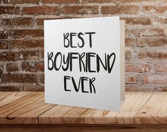 Best Boyfriend Ever Monochrome Greetings Card, Valentine's Day Card, Typography, Love, Marriage