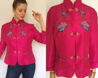 China jacket in 100% silk, Embroidered jacket, Silk jacket, Pink jacket, For her.