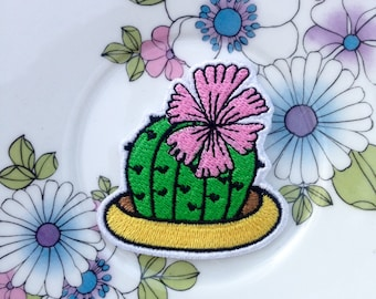 Cute blooming flowering succulent embroidered patch