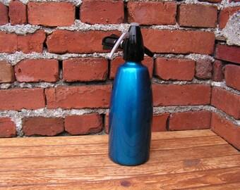 Vintage Soda Siphon Metal Seltzer Bottle Blue Aluminum Sodium Siphon Retro Sparklets Soda Bottle Siphon