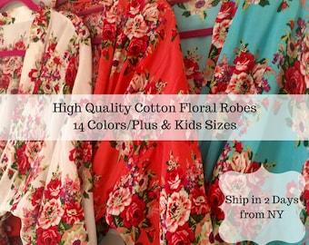 Bridesmaid Robe -Robes for Bridesmaids- Floral Bridesmaids Robes -Cotton Bridesmaids Robes - Kimono Bridesmaids Robes - Bridesmaid Gift