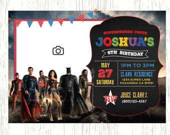 Justice League Birthday Invitation, Justice League Movie Invitation, Digital-Printable Justice League Party Invitation, Super Heroes Invite