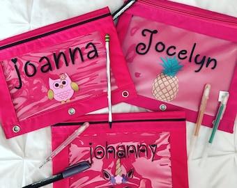 Customized pencil pouches, pencil pouchs, personalized pencil pouches, unicorn pencil pouch, pencil case