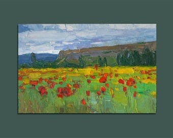 Poppies Field Landscape Original Oil Painting Palette Knife Painting Wall Art Contemporary Art Birthday Gift Gifts for Him Gifts for Her