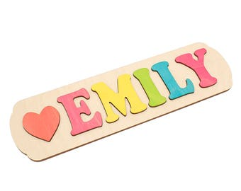 Baby puzzle etsy personalized wooden name puzzles with heart childrens puzzle custom name puzzle baby name negle Choice Image