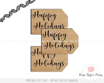 Holiday Gift Tags | Happy Holidays Gift Tags | Printable Gift Tags | Instant Download | Christmas Tags | Holiday Tags | Gift Tag Set