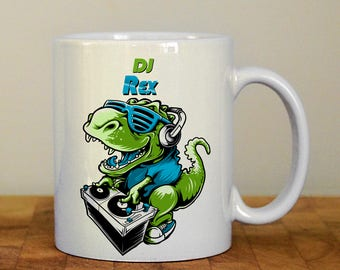 DJ rex mug, Personalised mug