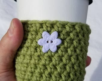 White Flower Crochet Cup Cozy - Small Felt Button Springtime Everyday Cup Sleeve in Froggy Green