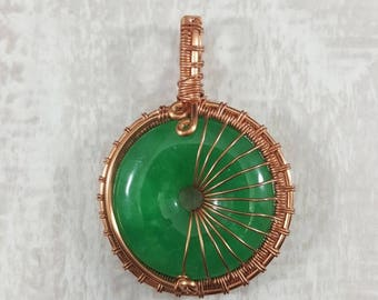 New Jade Pendant Copper Wire Wrapped Handmade