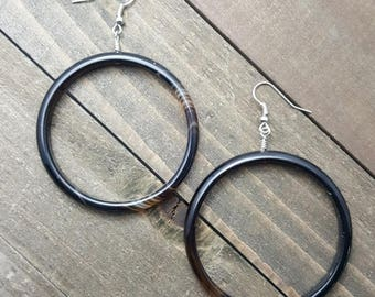 Black Agate Large Hoop Earrings