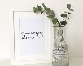 Carpe Diem Print, Famous Quotes, Wall Art, Home Decor