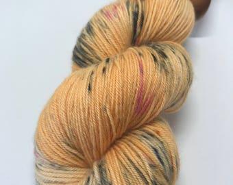 Hand Dyed Yarn Oddball Orange Black Pink Flecked 100g Hank Approx 425m Sock 4Ply Fingering 75/25% Superwash Merino/Nylon Mulesing Free