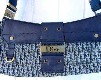 vintage superbe blue  canvas and leather christian dior designer  purse handbag/superbe christian dior sac à main en toile bleu et cuir