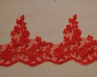 Vintage Red Eyelash Lace Trim 5.51 Inches Wide 1.09 Yards/ Craft   Supplies, WL796