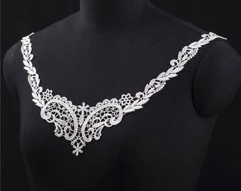 1 PC white Embroidery Flower Lace Collar Applique DIY Collar Patch Clothing Accessories, WL603