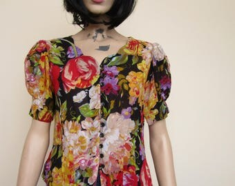 80s does the 40s Floral Puff Sleeved Shirt - Size 10