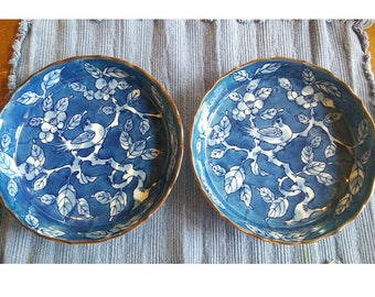 Chinese Porcelain: Cobalt Blue and White Deep Plates Early Twentieth Century