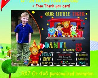 Daniel Tiger invitation, Daniel Tiger birthday invitation, Daniel Tiger party invitation, Daniel Tiger chalkboard invitation