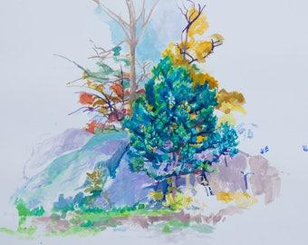 Sundial Pine Tree Landscape, Original Watercolor Fine Art Print