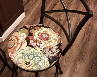 """Custom Bar Stool Chairs - Hammered Metal Finish - Modern Floral Upholstered Seats - 24"""" - Select Your Own Fabric or Paint!"""