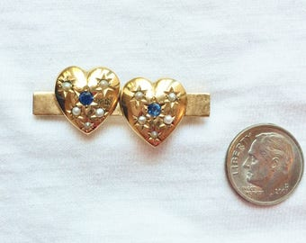 "Estate 14k HEAVY Yellow Gold Vintage Sapphire Seed Pearl Brooch Pin 2 Hearts Love 1.5"" long 7.0g Victorian Marked 14 k kt 14kt Antique Heart"