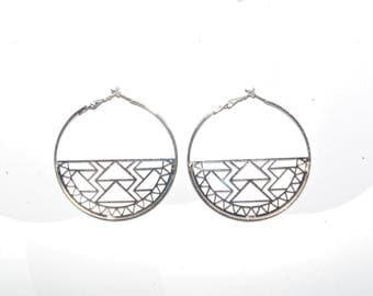 Laser Cut Silver Geometric Tribal Earrings