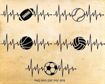 Heartbeat svg, Sports clipart, Heartbeat Sport Ball svg, Football clipart, Baseball heartbeat svg, Basketball design, Soccer svg, Volleyball