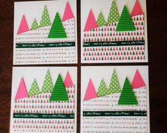 Set of cards. Christmas tree