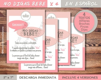 Dont say baby in SPANISH  - Baby shower game in spanish - Princess baby shower