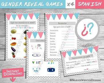 Gender reveal games SPANISH / Bundle x 4 / instant download / Printable