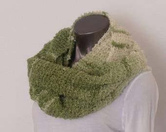 Extra Long Green and Cream Infinity Scarf