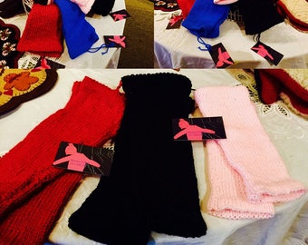 100% Hand Knitted Wool Leg Warmers - Adult Size, Red, Black, Pink, and Blue