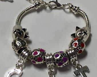 Little girls kids cat European charm bracelet