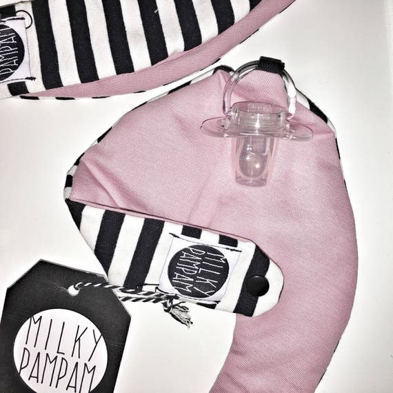 Triangular cloth-bib-scarf with pacifier attachment on the back pink and black and white strips reversible