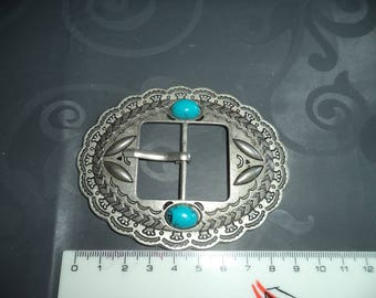 belt buckle in silver with Turquoise from 3.5 cm