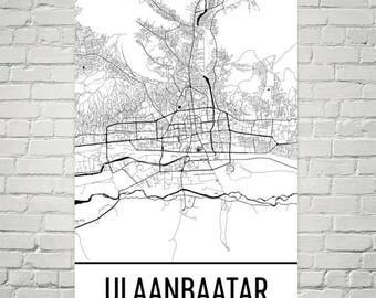 Ulaanbaatar Map, Ulaanbaatar Art, Ulaanbaatar Print, Ulaanbaatar Mongolia Poster, Wall Art, Mongolian Gifts, Map of Mongolia, Mongol Poster
